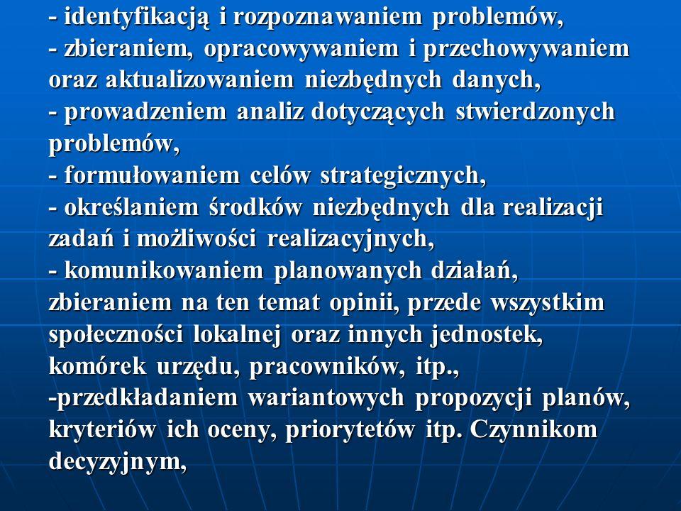 -przedkładaniem wariantowych propozycji planów, kryteriów ich oceny, priorytetów itp.