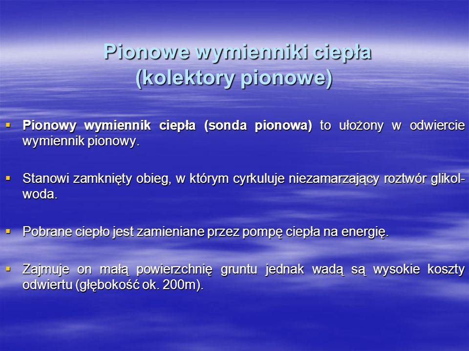 Pionowe wymienniki ciepła (kolektory pionowe) Pionowe wymienniki ciepła (kolektory pionowe) Pionowy wymiennik ciepła (sonda pionowa) to ułożony w odwi
