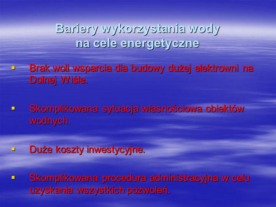 Bariery wykorzystania wody na cele energetyczne Brak woli wsparcia dla budowy dużej elektrowni na Dolnej Wiśle. Brak woli wsparcia dla budowy dużej el