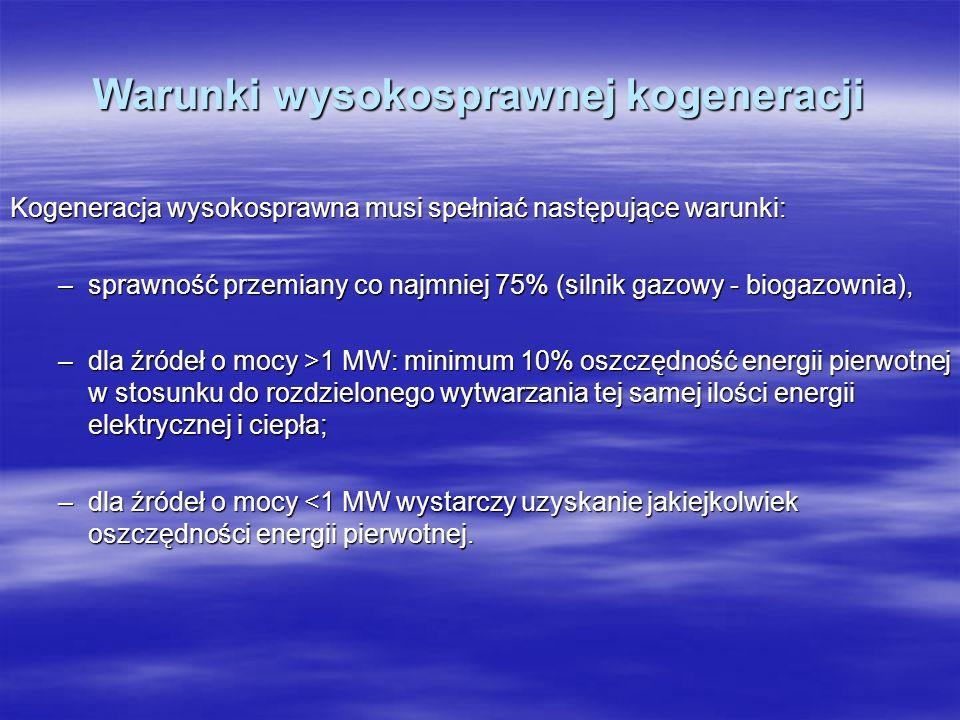 Warunki wysokosprawnej kogeneracji Kogeneracja wysokosprawna musi spełniać następujące warunki: –sprawność przemiany co najmniej 75% (silnik gazowy -