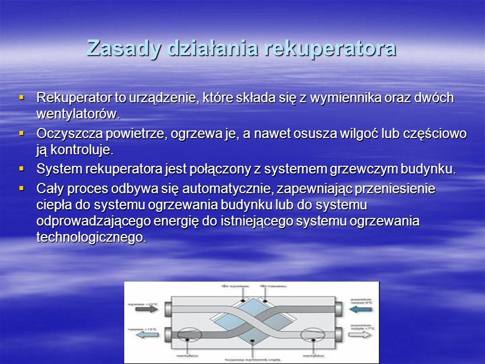 Zasady działania rekuperatora Rekuperator to urządzenie, które składa się z wymiennika oraz dwóch wentylatorów. Rekuperator to urządzenie, które skład