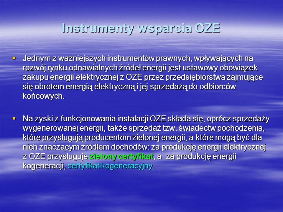 Instrumenty wsparcia OZE Jednym z ważniejszych instrumentów prawnych, wpływających na rozwój rynku odnawialnych źródeł energii jest ustawowy obowiązek