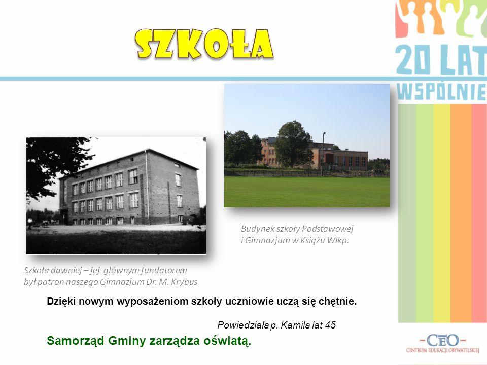 Szkoła dawniej – jej głównym fundatorem był patron naszego Gimnazjum Dr. M. Krybus Dzięki nowym wyposażeniom szkoły uczniowie uczą się chętnie. Powied