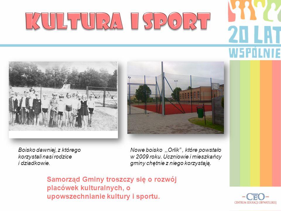 Nowe boisko,,Orlik, które powstało w 2009 roku. Uczniowie i mieszkańcy gminy chętnie z niego korzystają. Boisko dawniej, z którego korzystali nasi rod