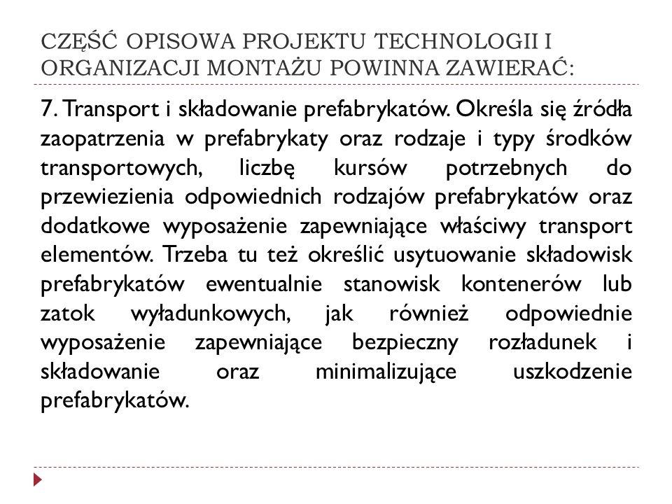 CZĘŚĆ OPISOWA PROJEKTU TECHNOLOGII I ORGANIZACJI MONTAŻU POWINNA ZAWIERAĆ: 7. Transport i składowanie prefabrykatów. Określa się źródła zaopatrzenia w