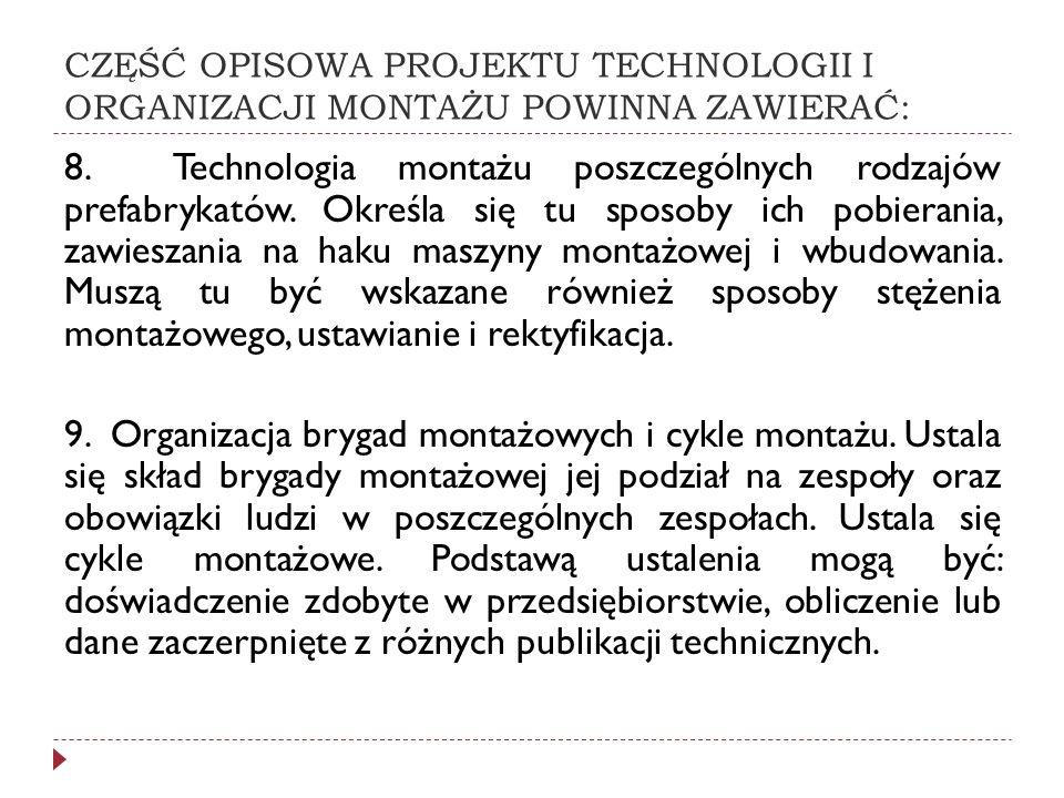 CZĘŚĆ OPISOWA PROJEKTU TECHNOLOGII I ORGANIZACJI MONTAŻU POWINNA ZAWIERAĆ: 8. Technologia montażu poszczególnych rodzajów prefabrykatów. Określa się t