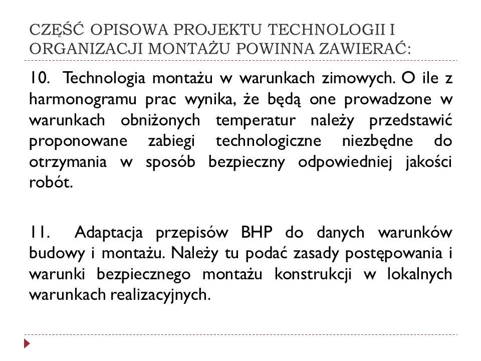 CZĘŚĆ OPISOWA PROJEKTU TECHNOLOGII I ORGANIZACJI MONTAŻU POWINNA ZAWIERAĆ: 10. Technologia montażu w warunkach zimowych. O ile z harmonogramu prac wyn