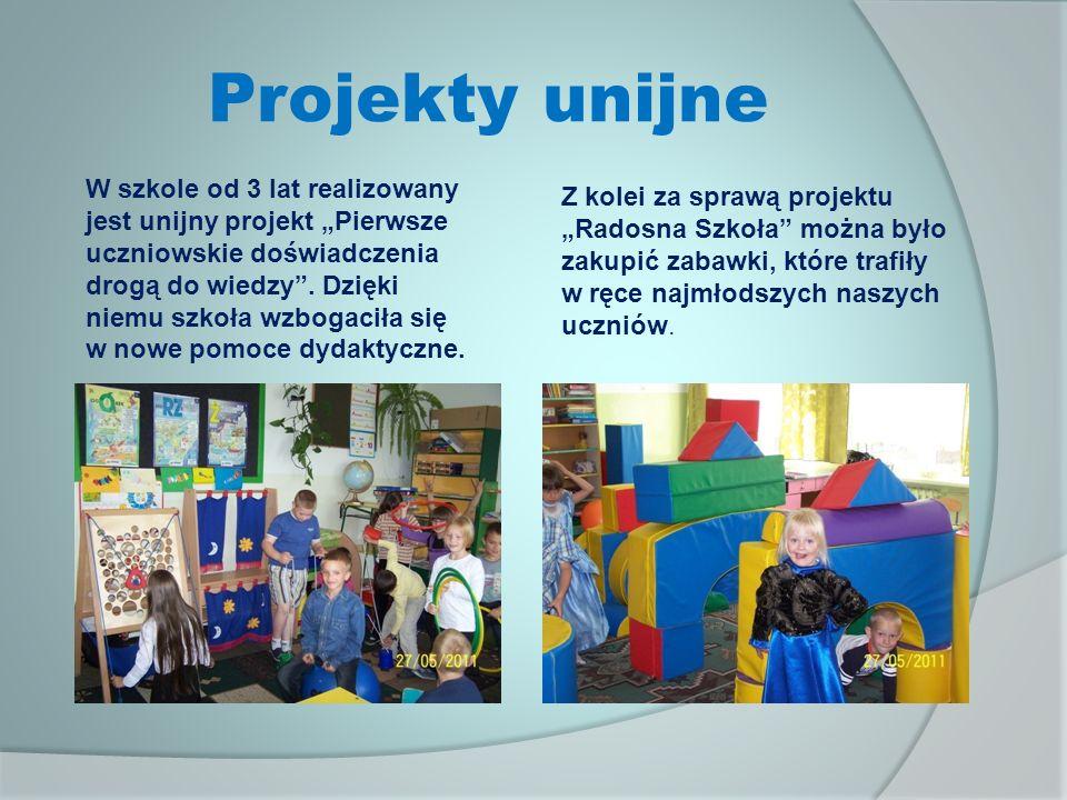 Projekty unijne W szkole od 3 lat realizowany jest unijny projekt Pierwsze uczniowskie doświadczenia drogą do wiedzy.