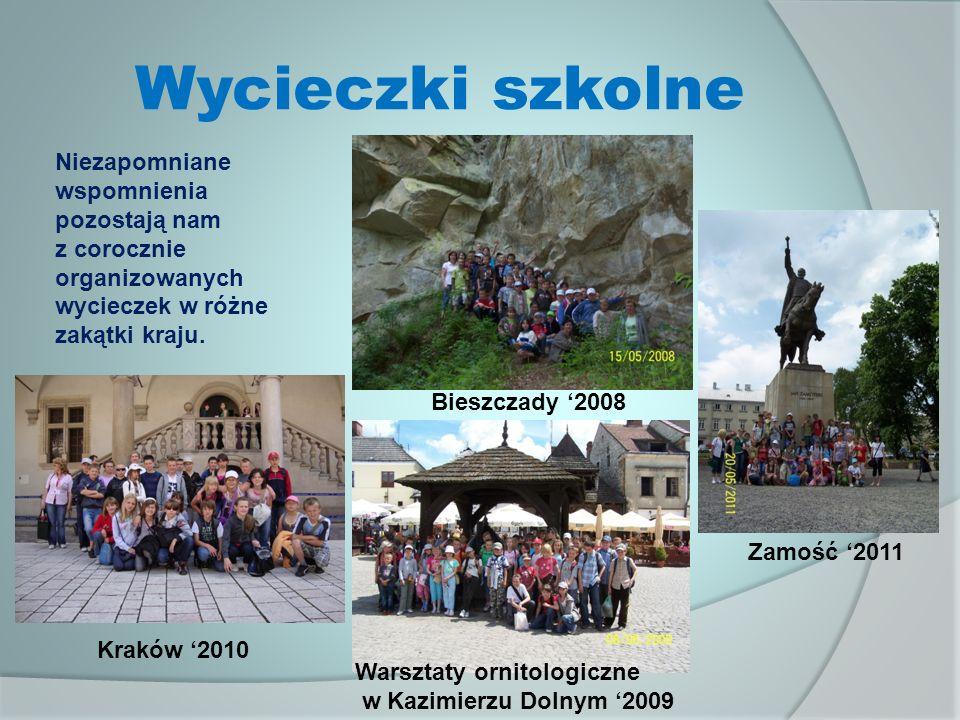 Wycieczki szkolne Warsztaty ornitologiczne w Kazimierzu Dolnym 2009 Bieszczady 2008 Zamość 2011 Niezapomniane wspomnienia pozostają nam z corocznie organizowanych wycieczek w różne zakątki kraju.