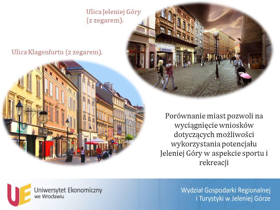 Porównanie miast pozwoli na wyciągnięcie wniosków dotyczących możliwości wykorzystania potencjału Jeleniej Góry w aspekcie sportu i rekreacji Ulica Klagenfurtu (z zegarem).