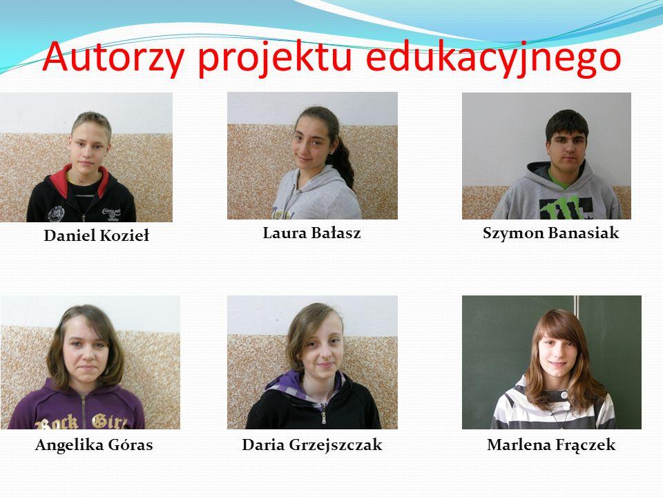 Autorzy projektu edukacyjnego Daniel Kozieł Laura BałaszSzymon Banasiak Angelika GórasDaria GrzejszczakMarlena Frączek