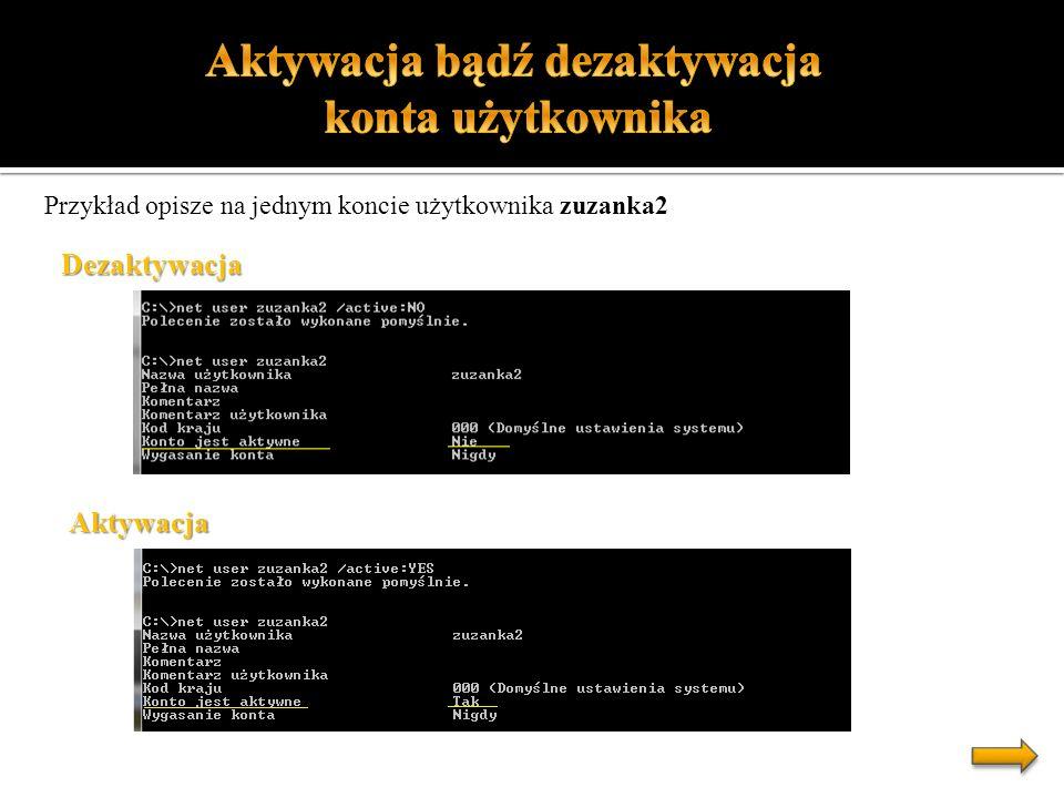 Przykład opisze na jednym koncie użytkownika zuzanka2 Dezaktywacja Aktywacja