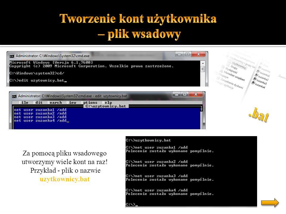 Ustalone hasło - Aby od razu nadać hasło takiej treści jaką sobie wymyśliliśmy wpisujemy: * - System poprosi o wpisanie hasła, dobra opcja kiedy my tworzymy konto a użytkownik sam wpisuje sobie kod.