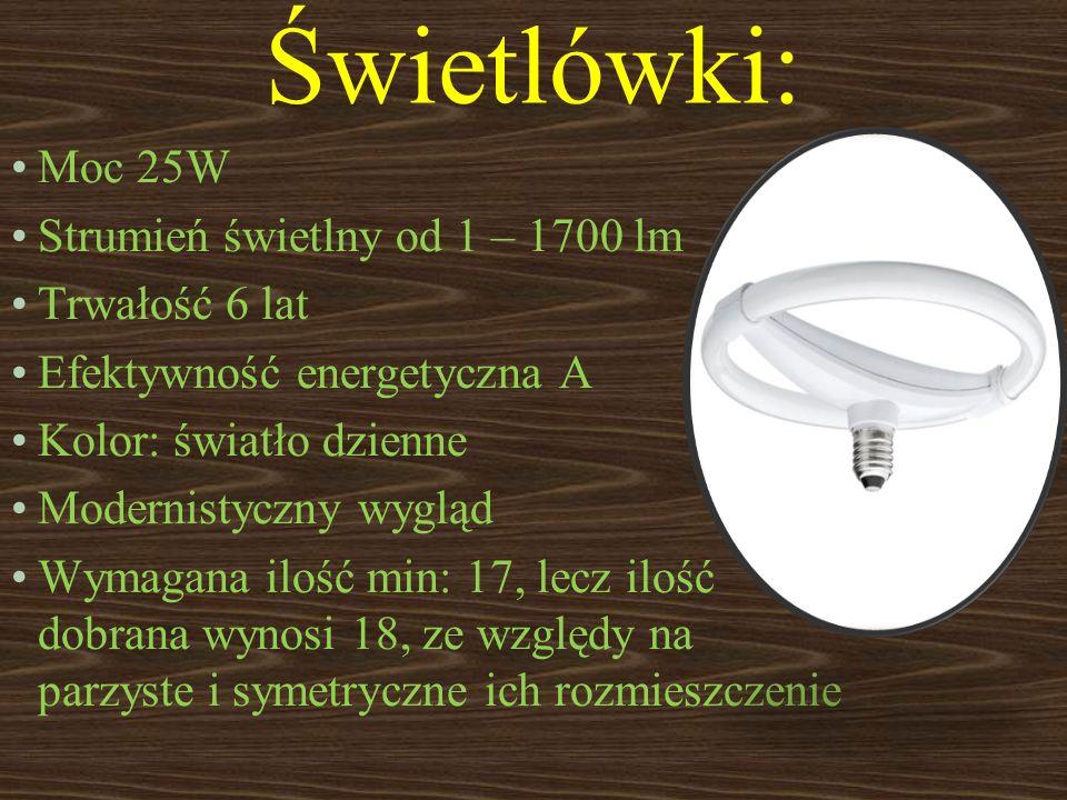 Świetlówki: Moc 25W Strumień świetlny od 1 – 1700 lm Trwałość 6 lat Efektywność energetyczna A Kolor: światło dzienne Modernistyczny wygląd Wymagana i