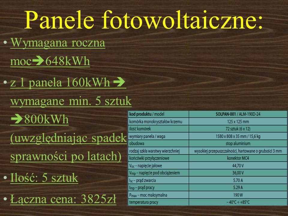 Panele fotowoltaiczne: Wymagana roczna moc 648kWh z 1 panela 160kWh wymagane min. 5 sztuk 800kWh (uwzględniając spadek sprawności po latach) Ilość: 5