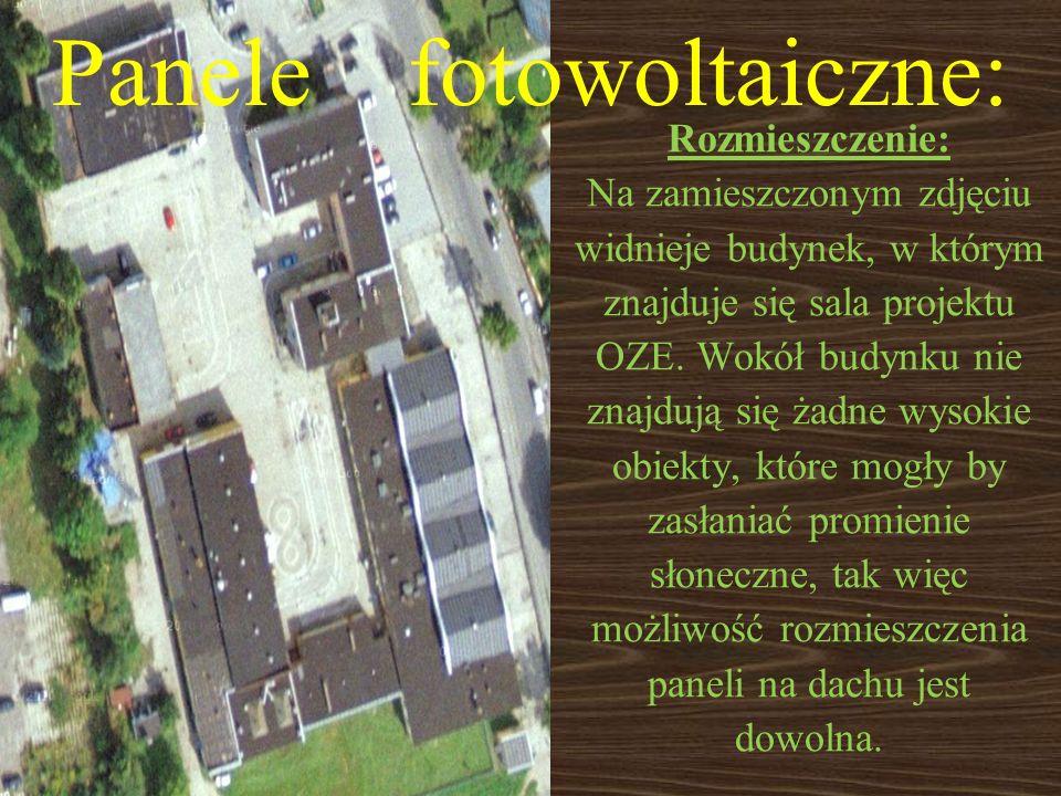 Panele fotowoltaiczne: Rozmieszczenie: Na zamieszczonym zdjęciu widnieje budynek, w którym znajduje się sala projektu OZE. Wokół budynku nie znajdują