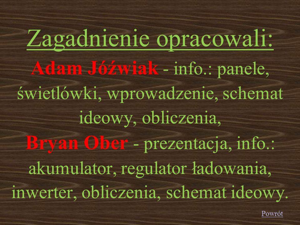 Zagadnienie opracowali: Adam Jóźwiak - info.: panele, świetlówki, wprowadzenie, schemat ideowy, obliczenia, Bryan Ober - prezentacja, info.: akumulato