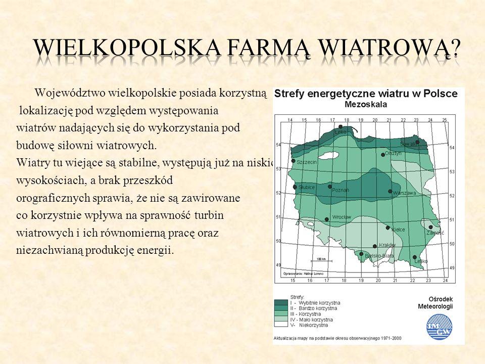 Województwo wielkopolskie posiada korzystną lokalizację pod względem występowania wiatrów nadających się do wykorzystania pod budowę siłowni wiatrowyc