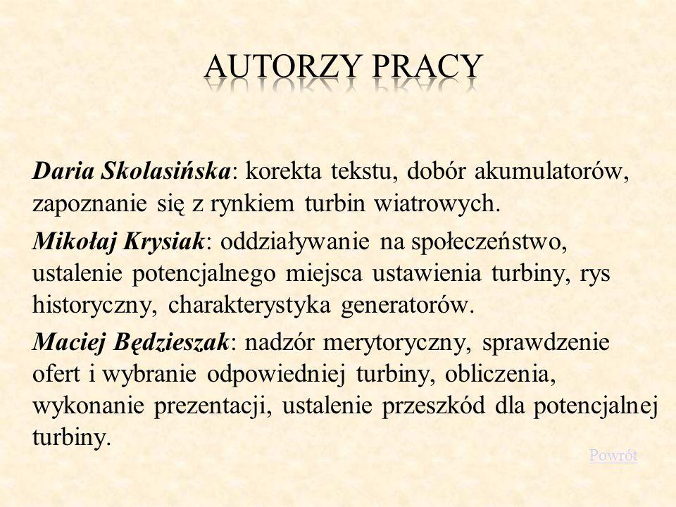 Daria Skolasińska: korekta tekstu, dobór akumulatorów, zapoznanie się z rynkiem turbin wiatrowych. Mikołaj Krysiak: oddziaływanie na społeczeństwo, us