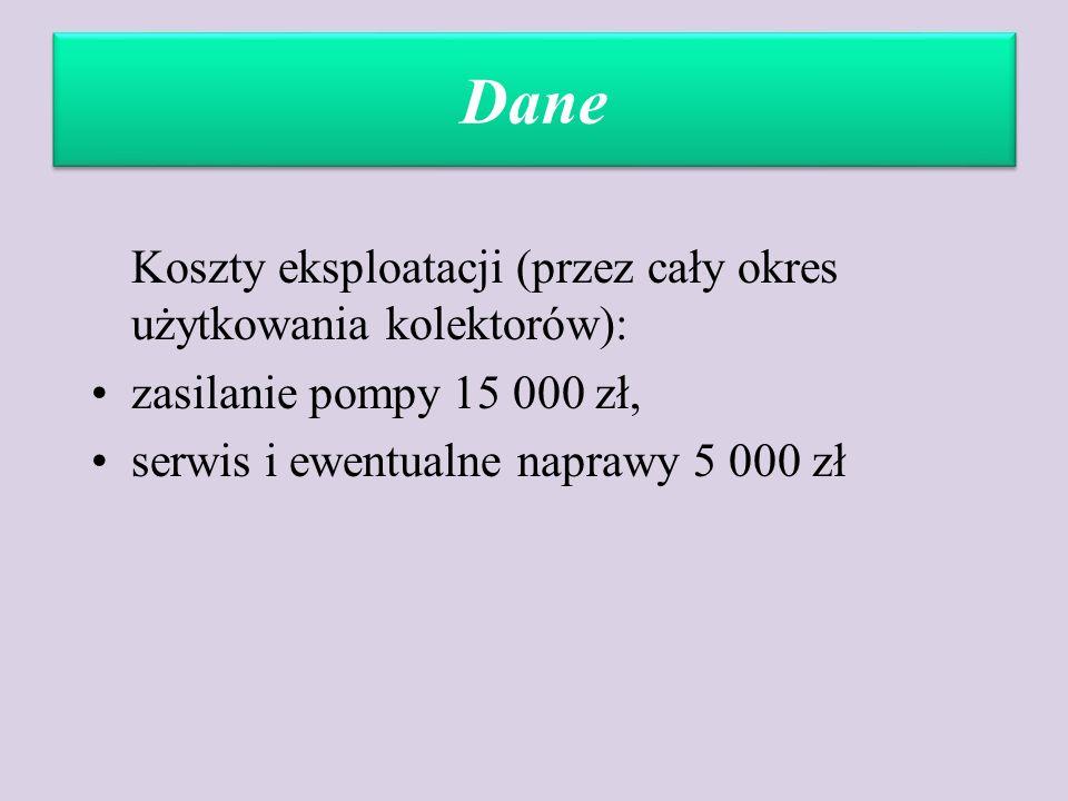 Dane Koszty eksploatacji (przez cały okres użytkowania kolektorów): zasilanie pompy 15 000 zł, serwis i ewentualne naprawy 5 000 zł