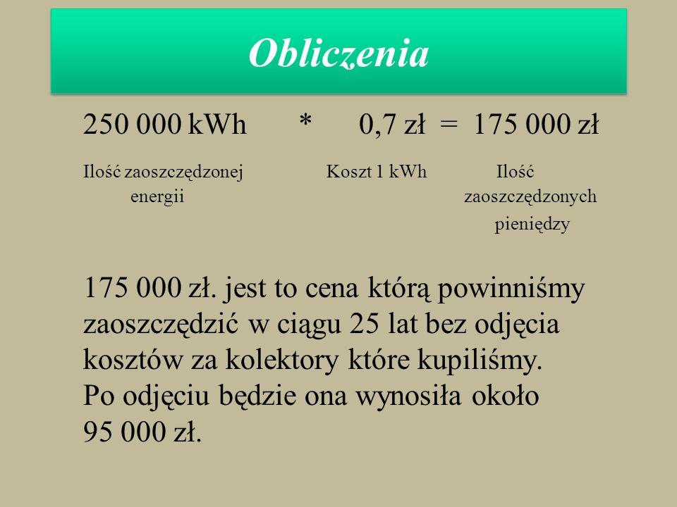Obliczenia 250 000 kWh * 0,7 zł = 175 000 zł Ilość zaoszczędzonej Koszt 1 kWh Ilość energii zaoszczędzonych pieniędzy 175 000 zł. jest to cena którą p