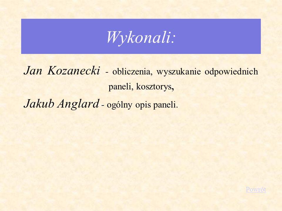 Wykonali: Jan Kozanecki - obliczenia, wyszukanie odpowiednich paneli, kosztorys, Jakub Anglard - ogólny opis paneli. Powrót