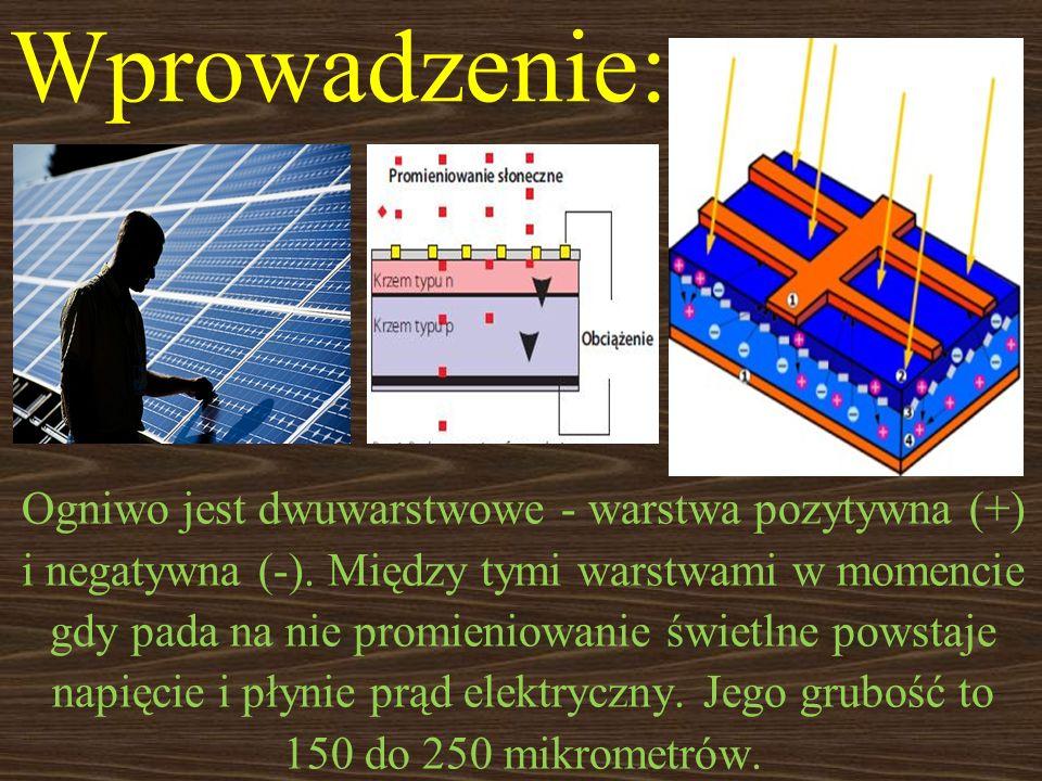 Ogniwo jest dwuwarstwowe - warstwa pozytywna (+) i negatywna (-). Między tymi warstwami w momencie gdy pada na nie promieniowanie świetlne powstaje na