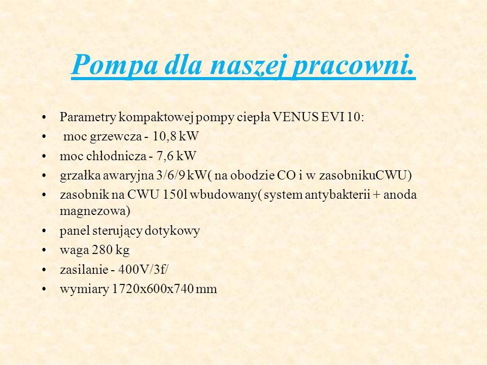 Pompa dla naszej pracowni. Parametry kompaktowej pompy ciepła VENUS EVI 10: moc grzewcza - 10,8 kW moc chłodnicza - 7,6 kW grzałka awaryjna 3/6/9 kW(