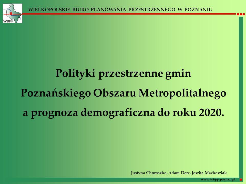 WIELKOPOLSKIE BIURO PLANOWANIA PRZESTRZENNEGO W POZNANIU www.wbpp.poznan.pl Polityki przestrzenne gmin Poznańskiego Obszaru Metropolitalnego a prognoz