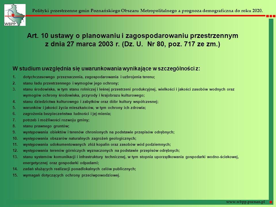 Art. 10 ustawy o planowaniu i zagospodarowaniu przestrzennym z dnia 27 marca 2003 r. (Dz. U. Nr 80, poz. 717 ze zm.) W studium uwzględnia się uwarunko
