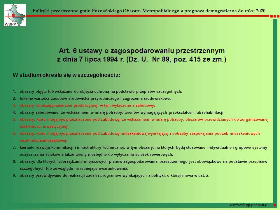Art. 6 ustawy o zagospodarowaniu przestrzennym z dnia 7 lipca 1994 r. (Dz. U. Nr 89, poz. 415 ze zm.) W studium określa się w szczególności z: 1.obsza