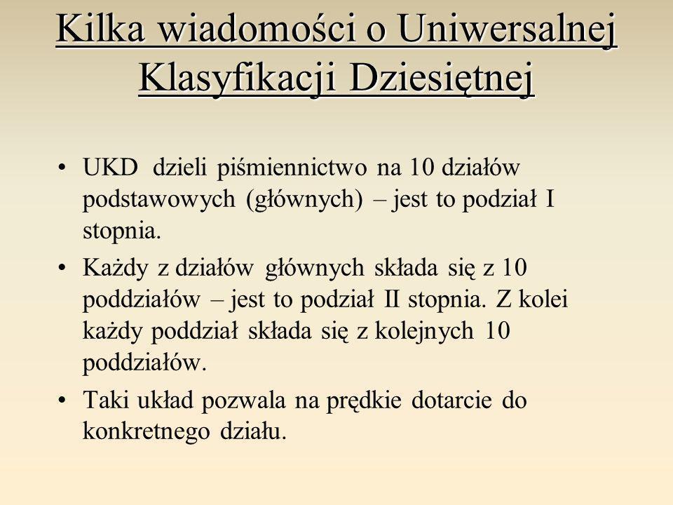 Kilka wiadomości o Uniwersalnej Klasyfikacji Dziesiętnej UKD dzieli piśmiennictwo na 10 działów podstawowych (głównych) – jest to podział I stopnia. K