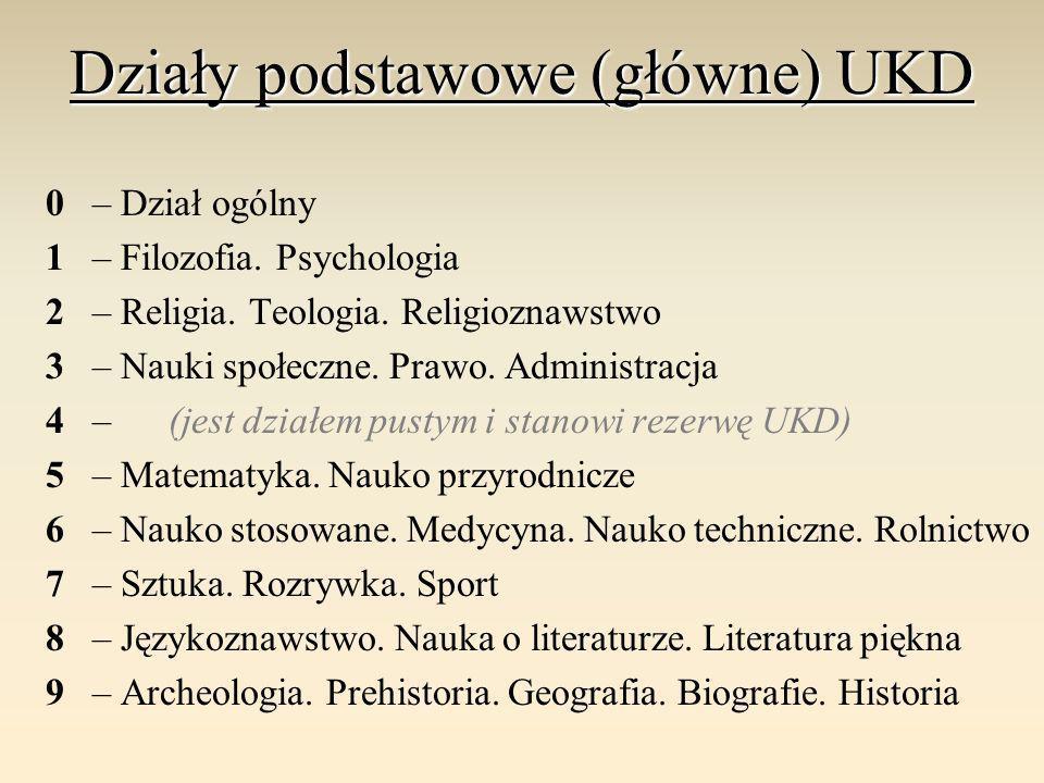 Działy podstawowe (główne) UKD 0 – Dział ogólny 1 – Filozofia. Psychologia 2 – Religia. Teologia. Religioznawstwo 3 – Nauki społeczne. Prawo. Administ