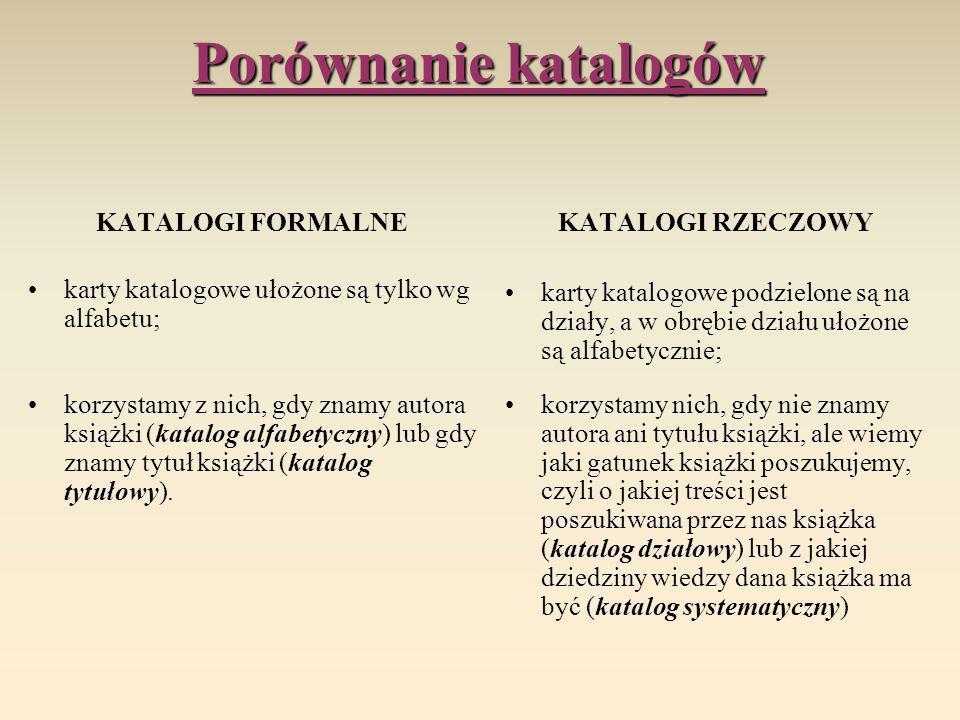 Porównanie katalogów KATALOGI FORMALNE karty katalogowe ułożone są tylko wg alfabetu; korzystamy z nich, gdy znamy autora książki (katalog alfabetyczn