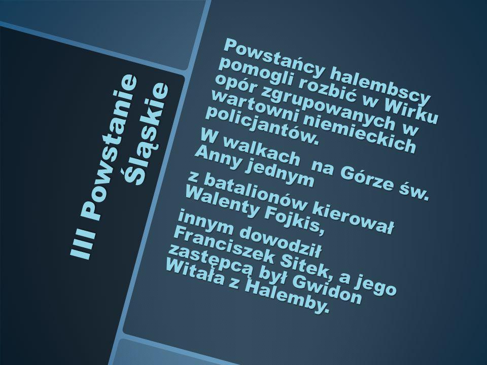 III Powstanie Śląskie Powstańcy halembscy pomogli rozbić w Wirku opór zgrupowanych w wartowni niemieckich policjantów. W walkach na Górze św. Anny jed