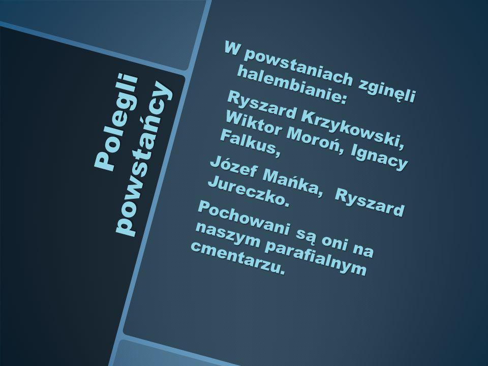 Polegli powstańcy W powstaniach zginęli halembianie: Ryszard Krzykowski, Wiktor Moroń, Ignacy Falkus, Ryszard Krzykowski, Wiktor Moroń, Ignacy Falkus,