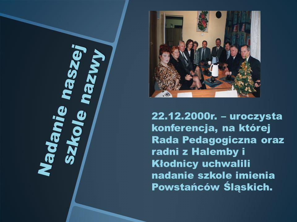 Nadanie naszej szkole nazwy 22.12.2000r. – uroczysta konferencja, na której Rada Pedagogiczna oraz radni z Halemby i Kłodnicy uchwalili nadanie szkole