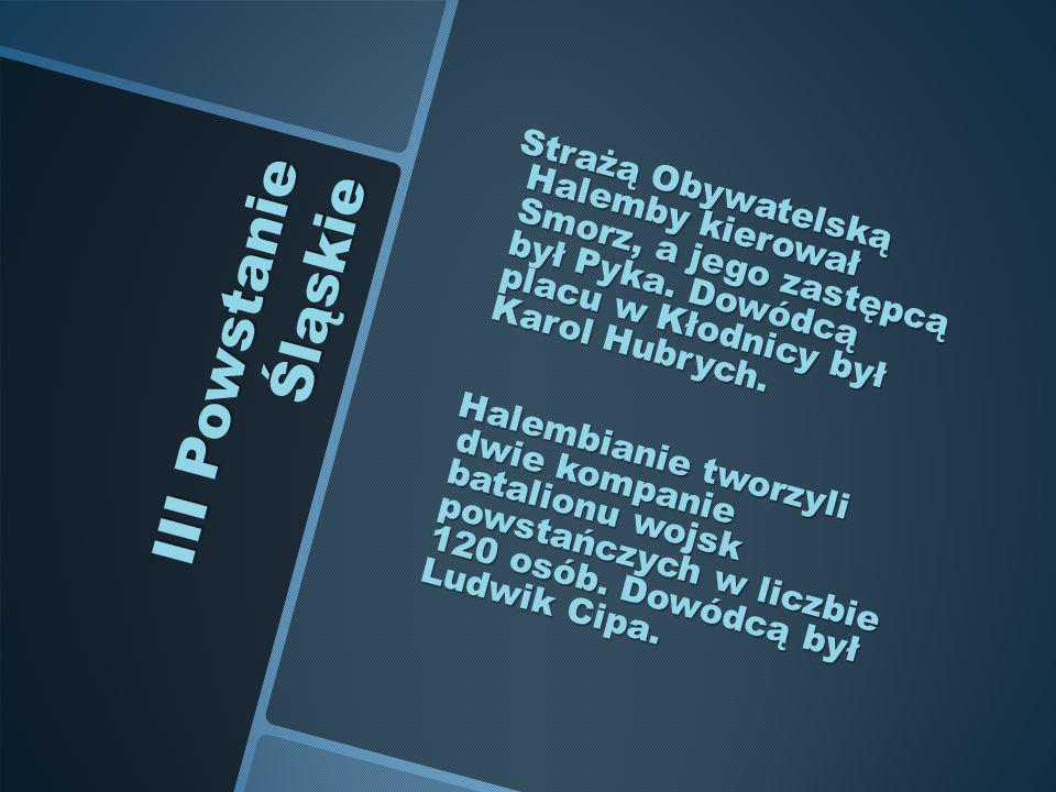 III Powstanie Śląskie Strażą Obywatelską Halemby kierował Smorz, a jego zastępcą był Pyka. Dowódcą placu w Kłodnicy był Karol Hubrych. Strażą Obywatel