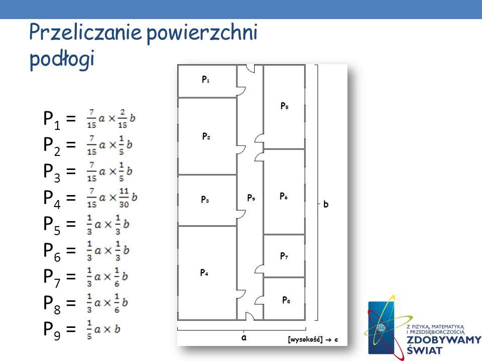 Przeliczanie powierzchni podłogi P 1 = P 2 = P 3 = P 4 = P 5 = P 6 = P 7 = P 8 = P 9 =