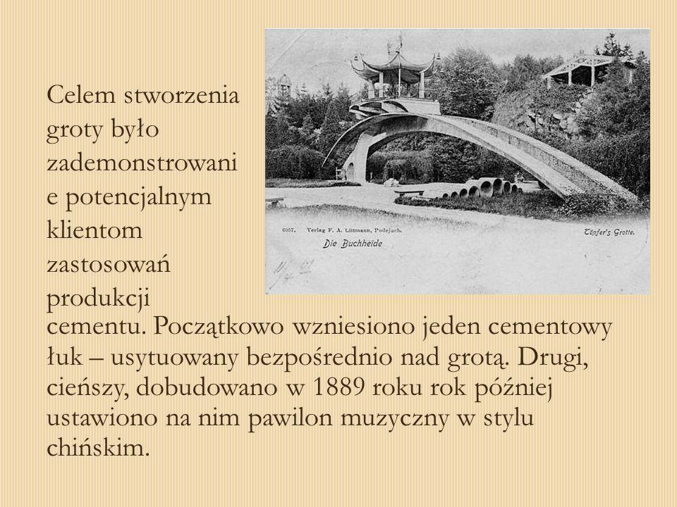 Celem stworzenia groty było zademonstrowani e potencjalnym klientom zastosowań produkcji cementu. Początkowo wzniesiono jeden cementowy łuk – usytuowa