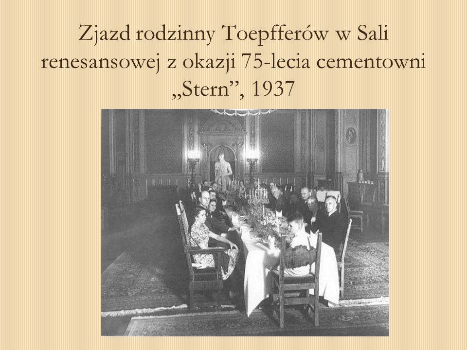 Zjazd rodzinny Toepfferów w Sali renesansowej z okazji 75-lecia cementowni Stern, 1937