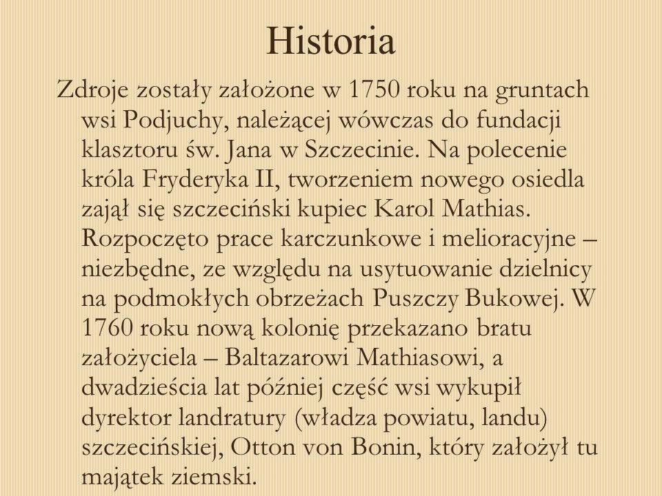 Zdroje zostały założone w 1750 roku na gruntach wsi Podjuchy, należącej wówczas do fundacji klasztoru św. Jana w Szczecinie. Na polecenie króla Fryder