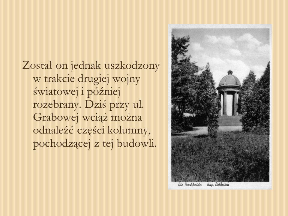 Został on jednak uszkodzony w trakcie drugiej wojny światowej i później rozebrany. Dziś przy ul. Grabowej wciąż można odnaleźć części kolumny, pochodz