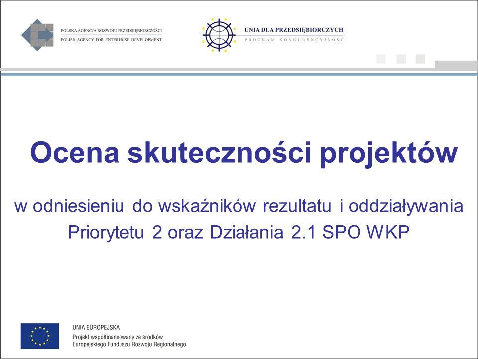 Ocena skuteczności projektów w odniesieniu do wskaźników rezultatu i oddziaływania Priorytetu 2 oraz Działania 2.1 SPO WKP