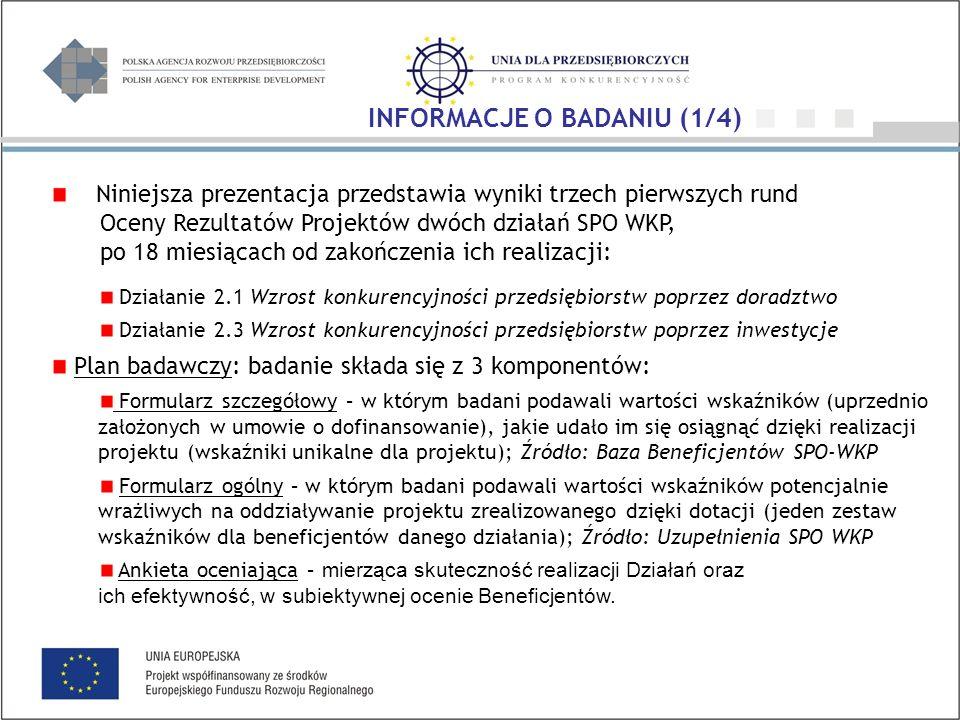 Niniejsza prezentacja przedstawia wyniki trzech pierwszych rund Oceny Rezultatów Projektów dwóch działań SPO WKP, po 18 miesiącach od zakończenia ich