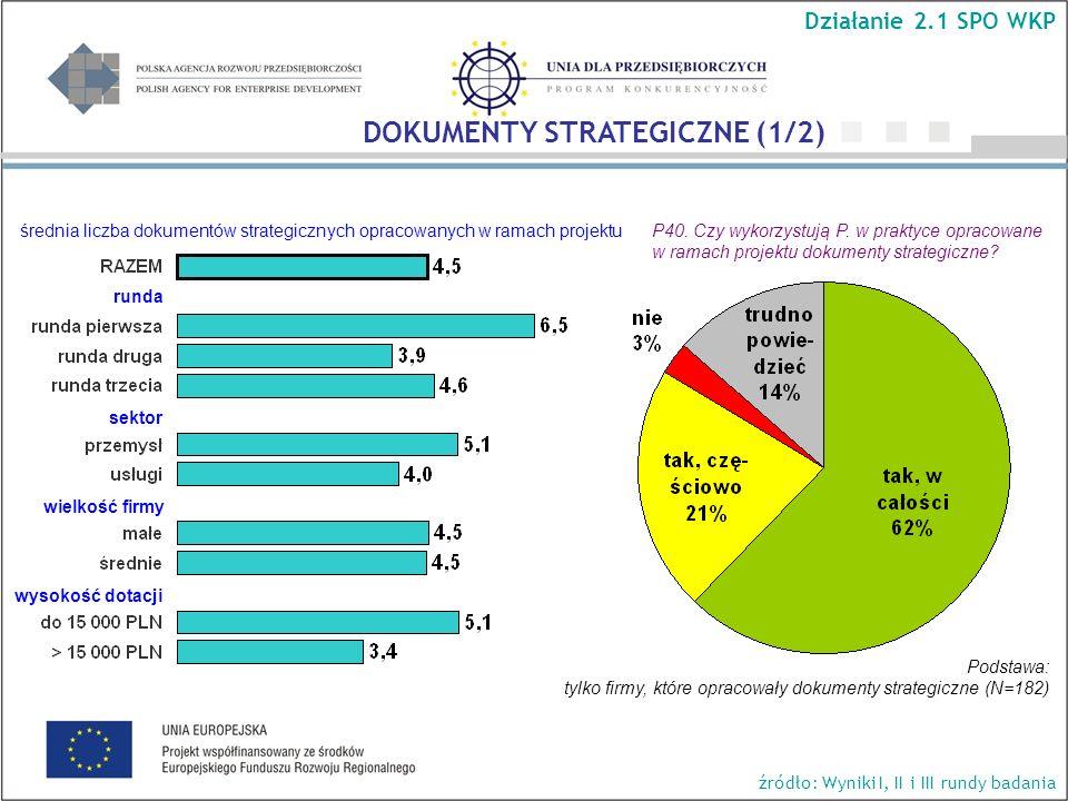 P40. Czy wykorzystują P. w praktyce opracowane w ramach projektu dokumenty strategiczne? runda sektor wielkość firmy wysokość dotacji średnia liczba d