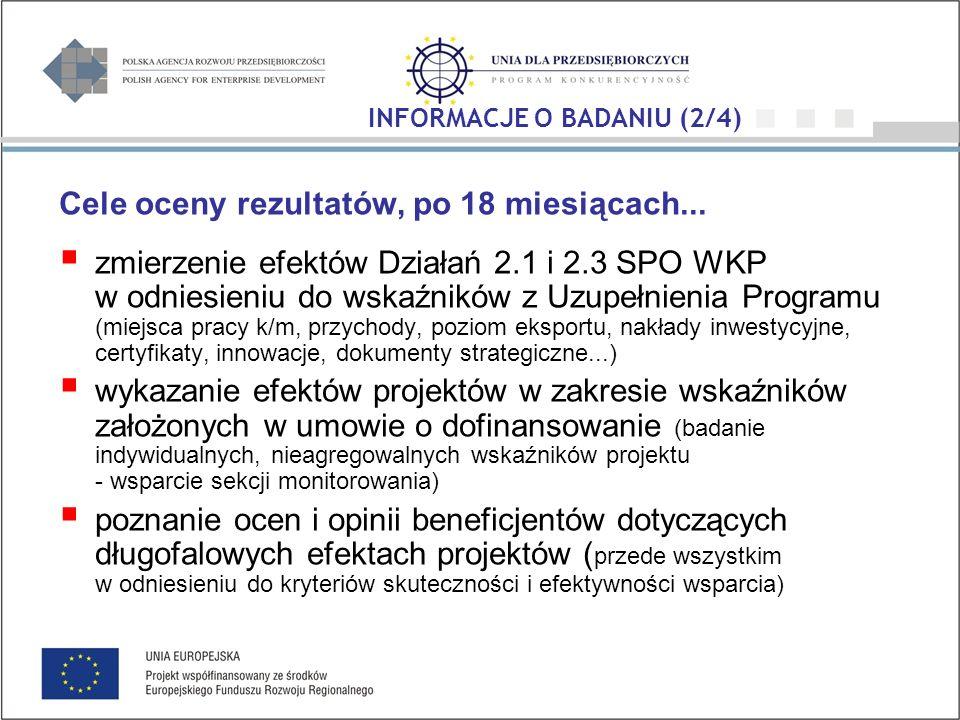 Cele oceny rezultatów, po 18 miesiącach... zmierzenie efektów Działań 2.1 i 2.3 SPO WKP w odniesieniu do wskaźników z Uzupełnienia Programu (miejsca p