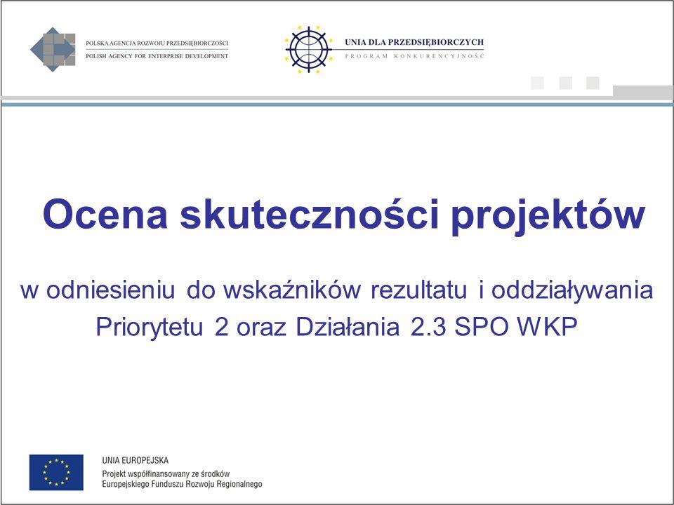 Ocena skuteczności projektów w odniesieniu do wskaźników rezultatu i oddziaływania Priorytetu 2 oraz Działania 2.3 SPO WKP