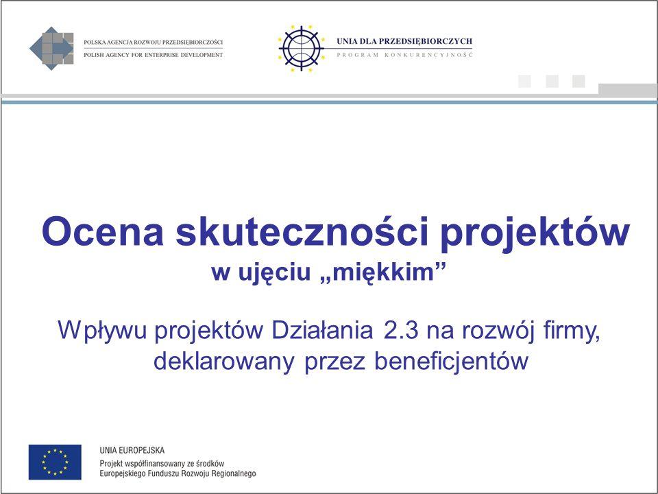 Ocena skuteczności projektów w ujęciu miękkim Wpływu projektów Działania 2.3 na rozwój firmy, deklarowany przez beneficjentów