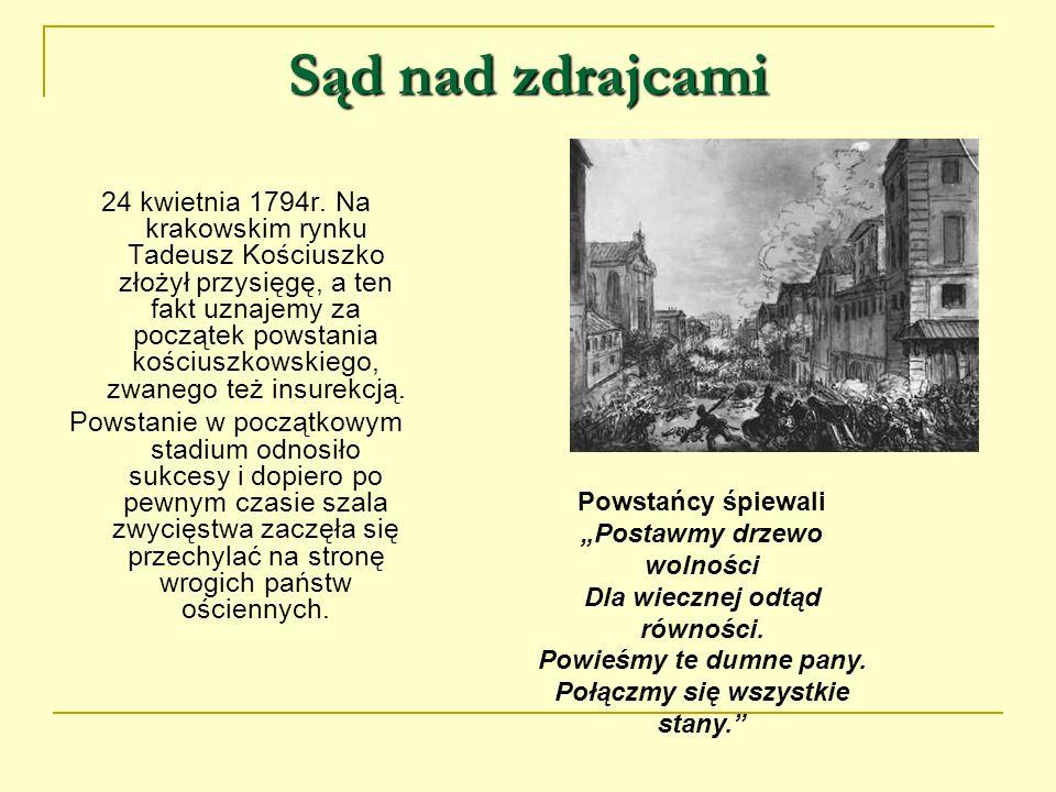 Sąd nad zdrajcami 24 kwietnia 1794r. Na krakowskim rynku Tadeusz Kościuszko złożył przysięgę, a ten fakt uznajemy za początek powstania kościuszkowski